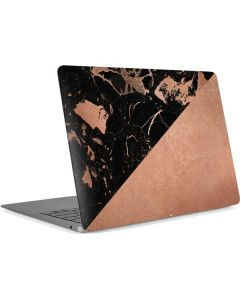 Black and Rose Gold Marble Split Apple MacBook Air Skin