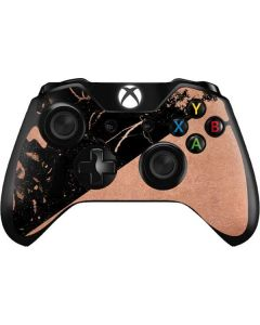 Black and Rose Gold Marble Split Xbox One Controller Skin