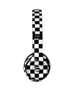 Black and White Checkered Beats Solo 2 Wired Skin