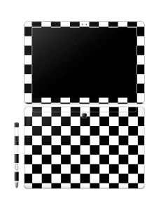 Black and White Checkered Galaxy Book 12in Skin