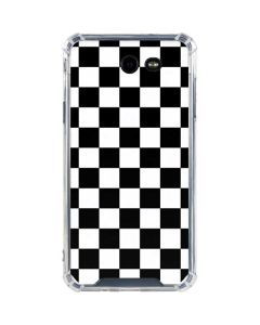 Black and White Checkered Galaxy J7 (2017) Clear Case