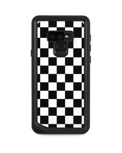 Black and White Checkered Galaxy Note 9 Waterproof Case