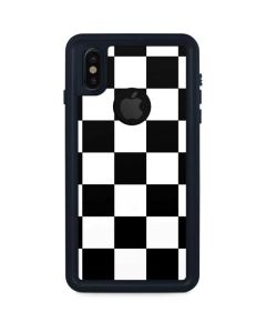 Black and White Checkered iPhone XS Waterproof Case