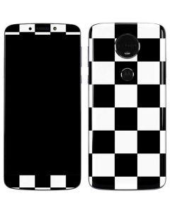 Black and White Checkered Moto E5 Plus Skin