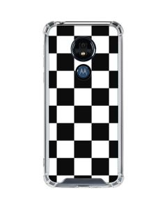 Black and White Checkered Moto G7 Power Clear Case