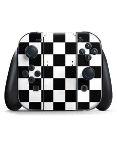 Black and White Checkered Nintendo Switch Joy Con Controller Skin