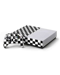 Black and White Checkered Xbox One S Console and Controller Bundle Skin