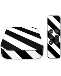 Black and White Geometric Stripes Apple TV Skin