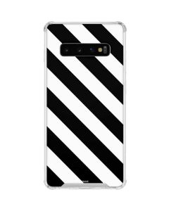 Black and White Geometric Stripes Galaxy S10 Clear Case