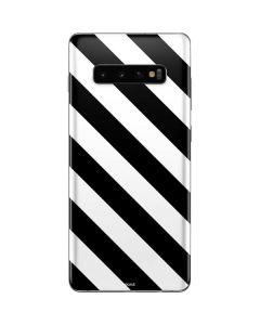 Black and White Geometric Stripes Galaxy S10 Plus Skin