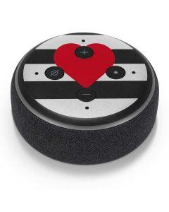 Black And White Striped Heart Amazon Echo Dot Skin