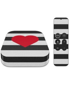 Black And White Striped Heart Apple TV Skin