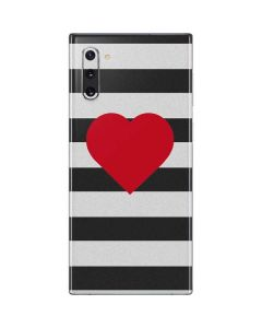 Black And White Striped Heart Galaxy Note 10 Skin