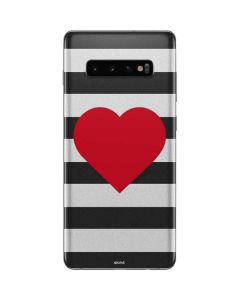Black And White Striped Heart Galaxy S10 Plus Skin