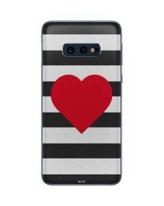 Black And White Striped Heart Galaxy S10e Skin
