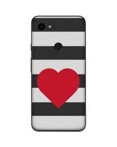 Black And White Striped Heart Google Pixel 3a Skin