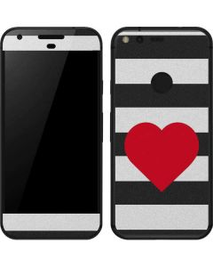 Black And White Striped Heart Google Pixel Skin