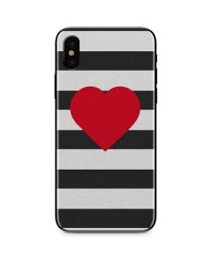 Black And White Striped Heart iPhone XS Max Skin