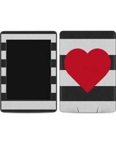 Black And White Striped Heart Amazon Kindle Skin