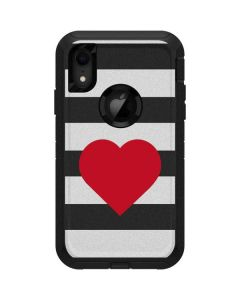Black And White Striped Heart Otterbox Defender iPhone Skin