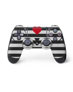 Black And White Striped Heart PS4 Pro/Slim Controller Skin