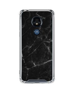 Black Marble Moto G7 Power Clear Case