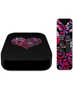 Black Swirly Heart Apple TV Skin