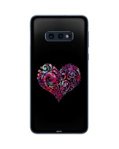 Black Swirly Heart Galaxy S10e Skin