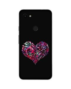 Black Swirly Heart Google Pixel 3a Skin