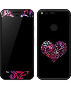 Black Swirly Heart Google Pixel Skin