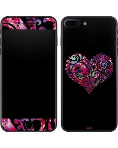 Black Swirly Heart iPhone 7 Plus Skin