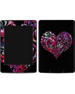 Black Swirly Heart Amazon Kindle Skin