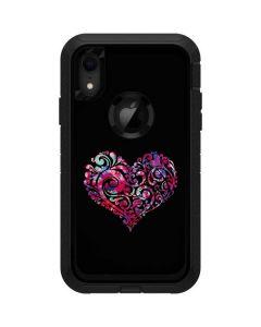 Black Swirly Heart Otterbox Defender iPhone Skin