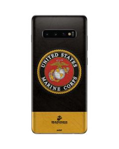 Black Yellow US Marine Corps Galaxy S10 Plus Skin