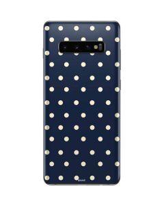 Blue and Cream Polka Dots Galaxy S10 Plus Skin