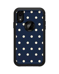 Blue and Cream Polka Dots Otterbox Defender iPhone Skin