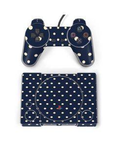 Blue and Cream Polka Dots PlayStation Classic Bundle Skin