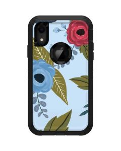 Blue Fall Flowers Otterbox Defender iPhone Skin