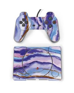Blue Violet Watercolor Geode PlayStation Classic Bundle Skin