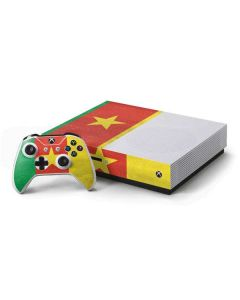 Cameroon Flag Distressed Xbox One S Console and Controller Bundle Skin