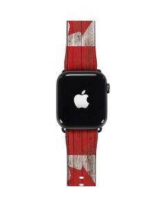 Canadian Flag Dark Wood Apple Watch Band 42-44mm