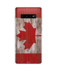 Canadian Flag Dark Wood Galaxy S10 Plus Skin
