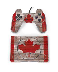 Canadian Flag Dark Wood PlayStation Classic Bundle Skin