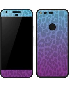 Cheetah Print Purple and Blue Google Pixel Skin