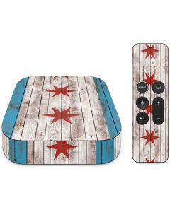 Chicago Flag Dark Wood Apple TV Skin