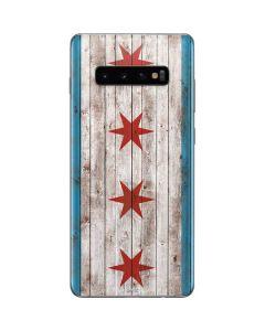 Chicago Flag Dark Wood Galaxy S10 Plus Skin