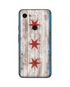Chicago Flag Dark Wood Google Pixel 3a Skin