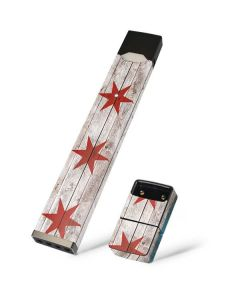 Chicago Flag Dark Wood Juul E-Cigarette Skin