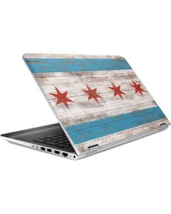 Chicago Flag Dark Wood HP Pavilion Skin