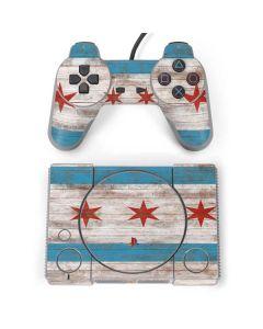 Chicago Flag Dark Wood PlayStation Classic Bundle Skin